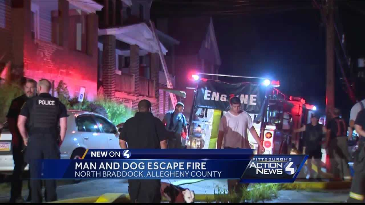 A man and his dog escape a fire in North Braddock on Thursday morning
