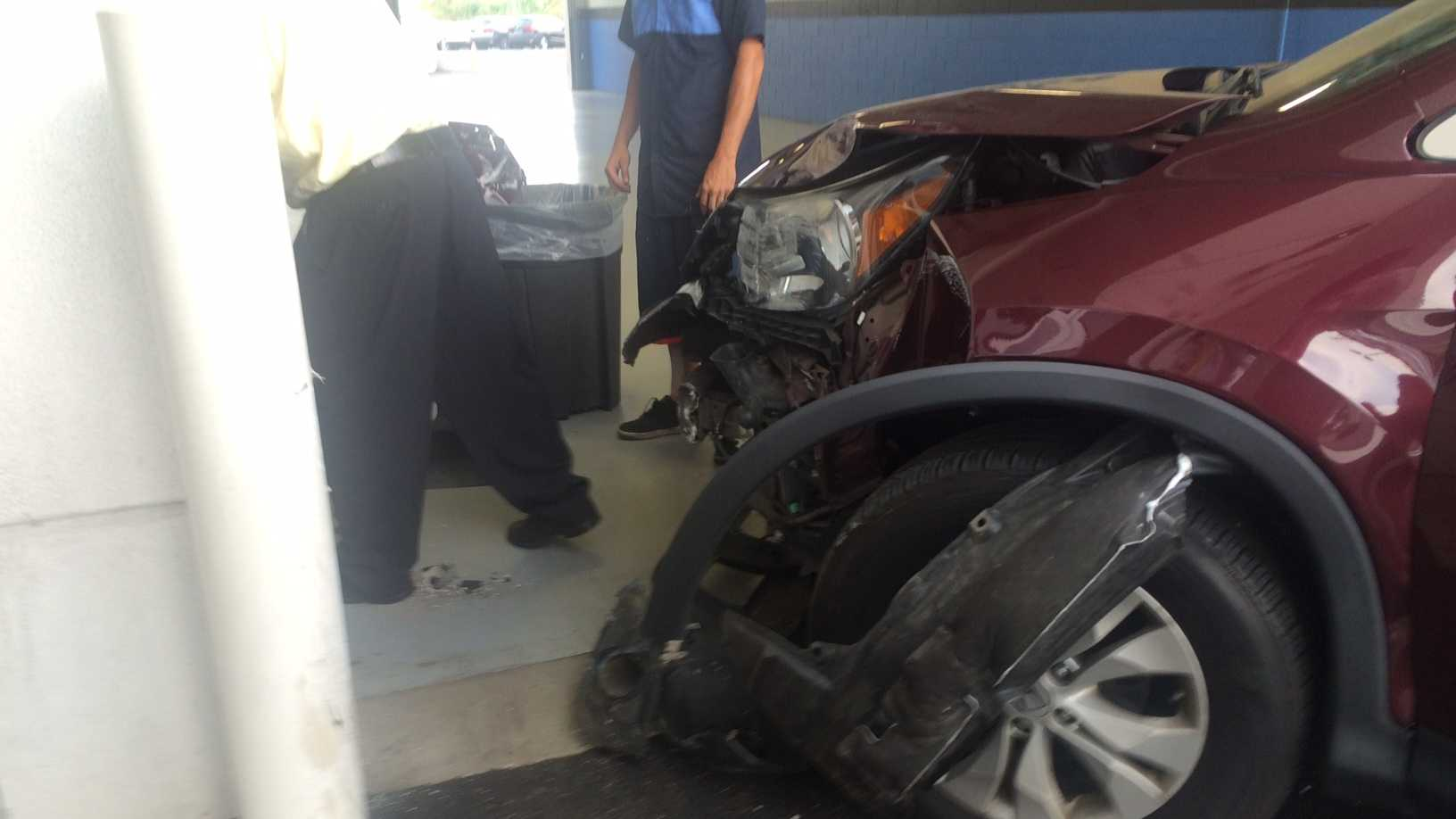 A car crashed into the service drive of the Valley Honda in Monroeville Monday morning.