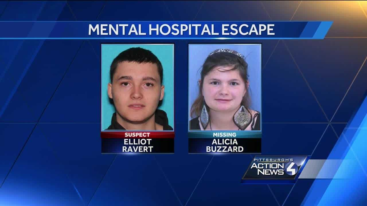An arrest warrant has been issued for a man who allegedly threatened two nurses at gunpoint at a secure mental health care hospital and fled with a female patient.