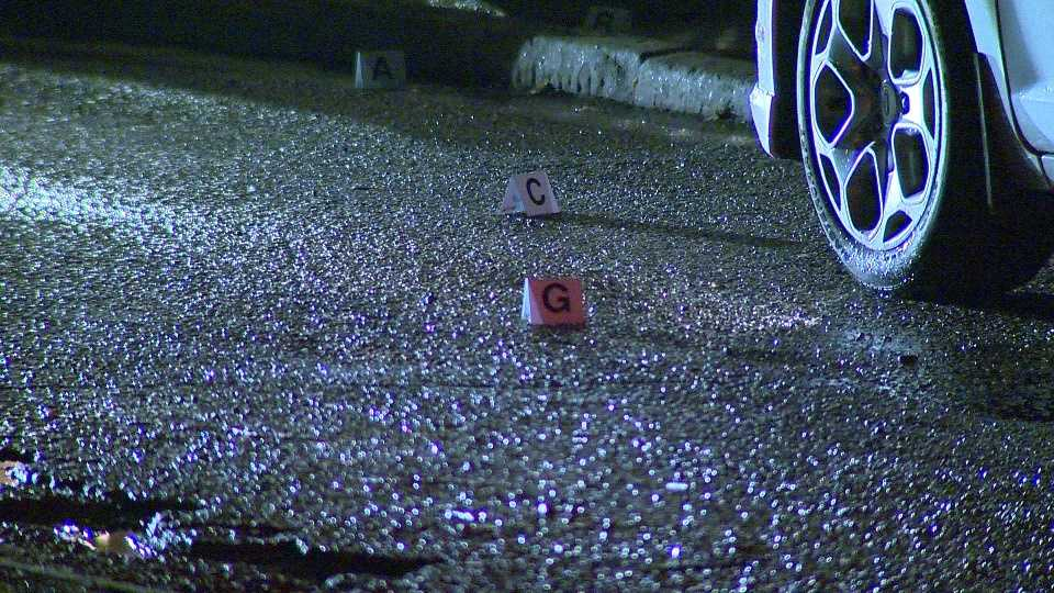 Allegheny County homicide detectives are investigating after a man was shot in the leg while pulling into his driveway in Wilkinsburg Sunday.