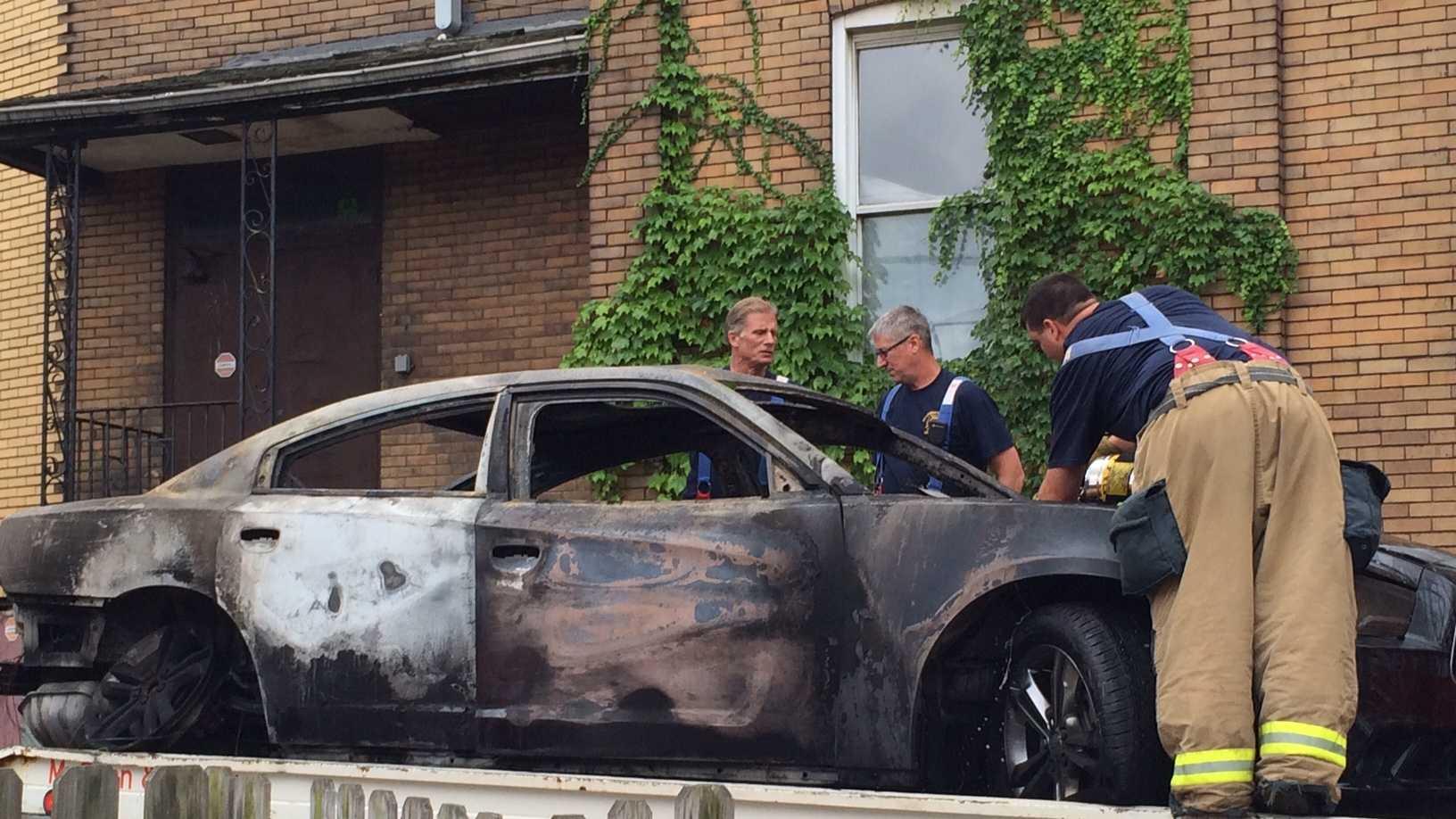 Lawrenceville burned car
