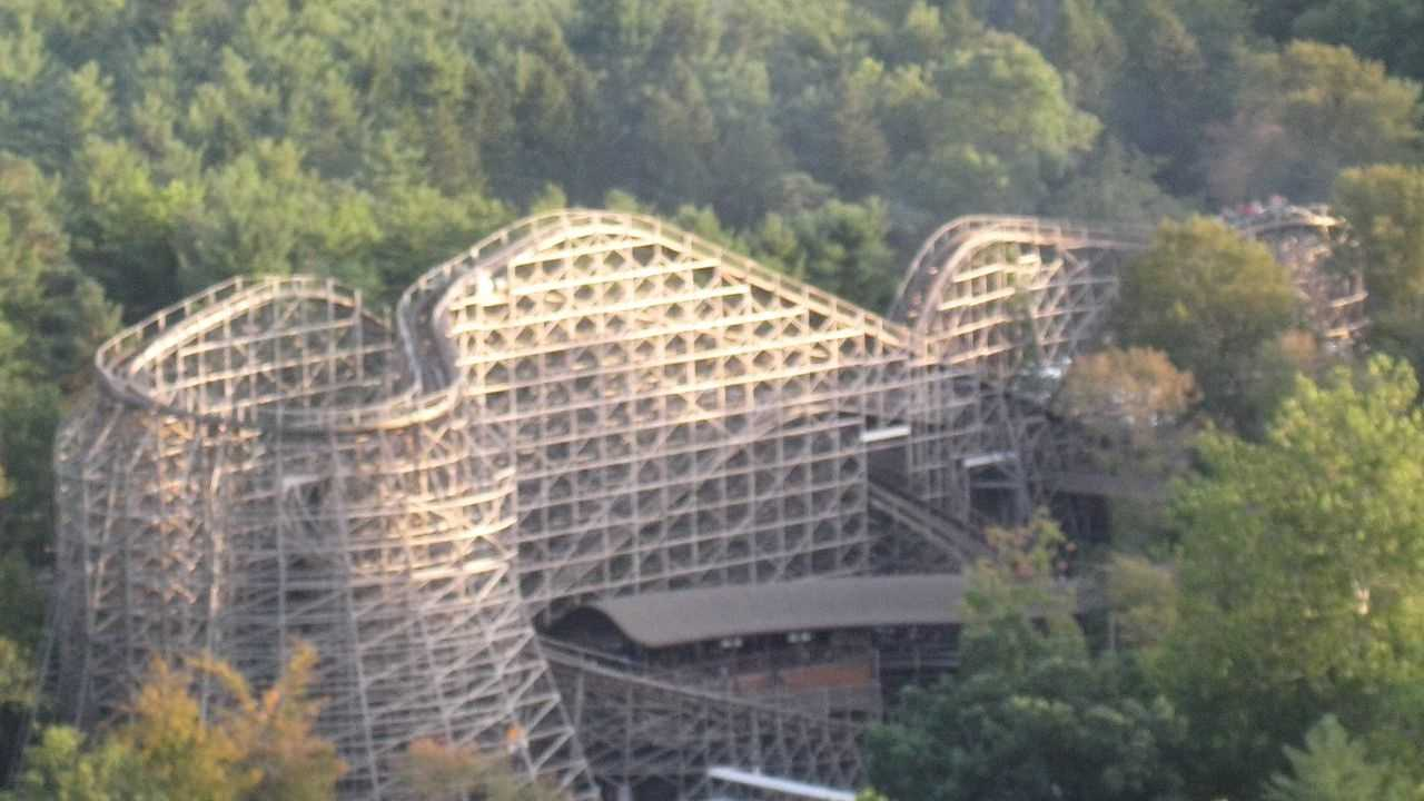 View of the Twister rollercoaster at Knoebels Amusement Park near Elysburg, Pennsylvania, USA