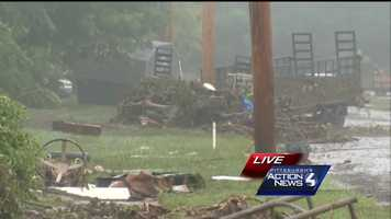Severe thunderstorms led to flooding that caused damage all over Connell Avenue in Connellsville.