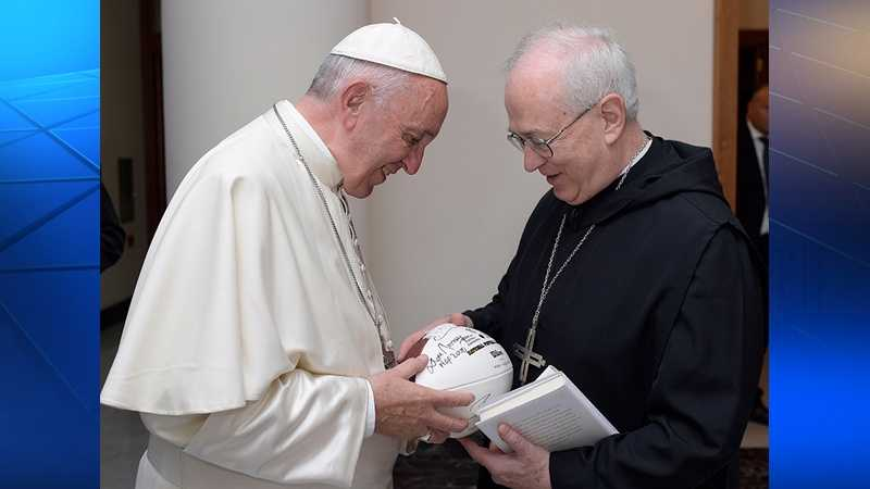A football signed by the Pittsburgh Steelers was presented to Pope Francis by the Rev. Douglas Nowicki, chancellor of Saint Vincent College.