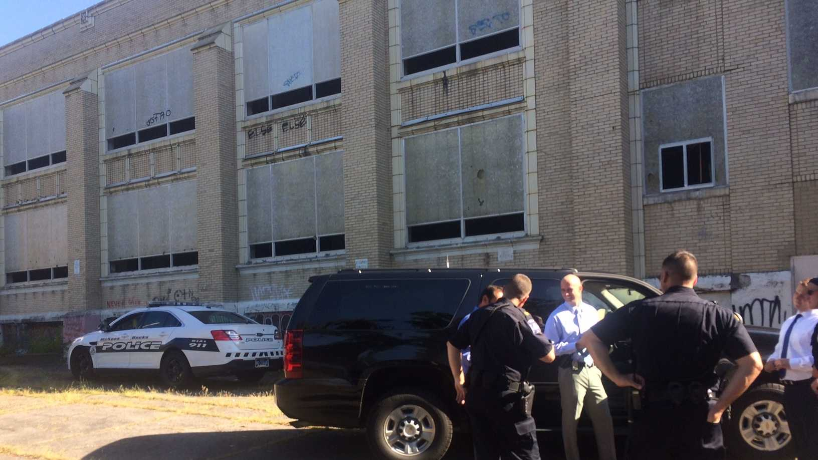 Police are investigating after a body was found in an abandoned McKees Rocks school Tuesday morning. (Bob Mayo)