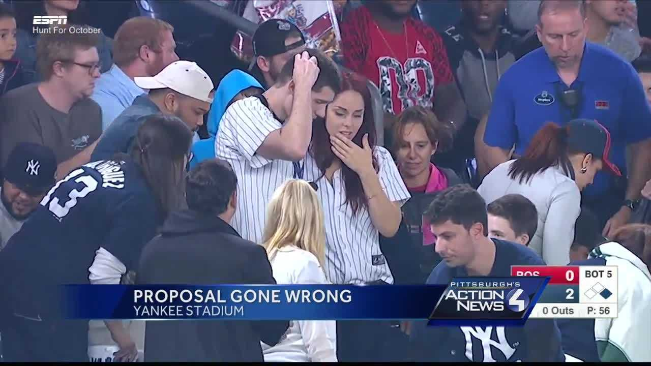 Andrew Fox accidentally dropped an engagement ring while proposing to Heather Terwilliger at Yankee Stadium.