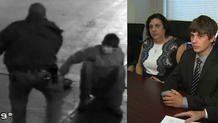 Gabriel Despres (right) is suing over his violent arrest by then-Sgt. Stephen Matakovich (left, surveillance image) at Heinz Field.