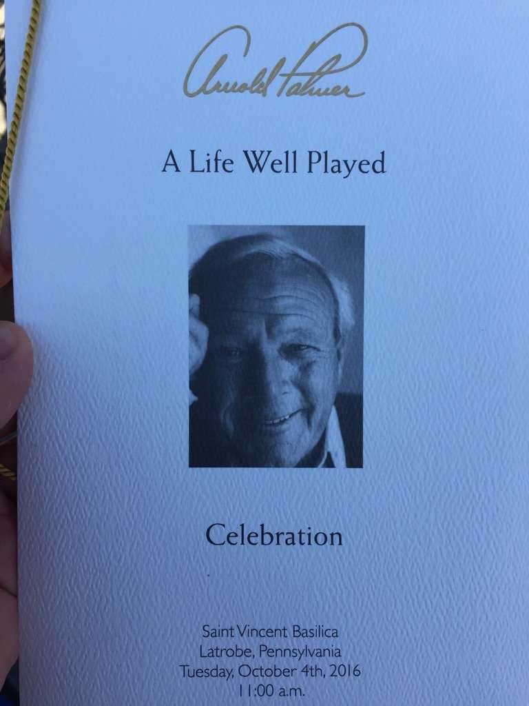The program for today's Arnold Palmer Memorial. A life well played, indeed.