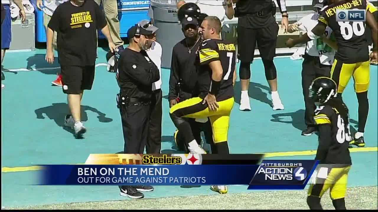 Ben Roethlisberger on the sideline after suffering a knee injury.