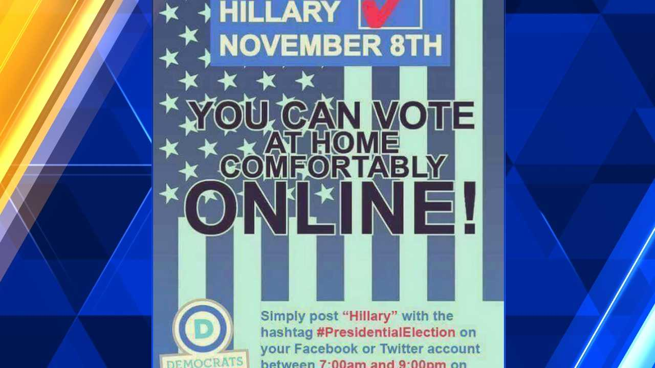 A meme shared by a Republican Murrysville councilman on his Facebook page that erroneously states you can cast a vote for president online at home. No state has online voting.
