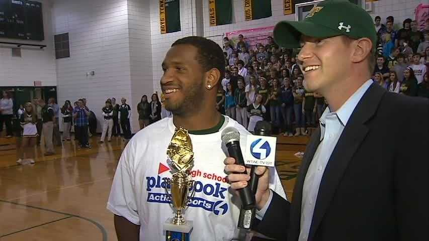 Channel 4 Action Sports morning anchor John Meyer chats with Penn-Trafford RB Manny Simpson