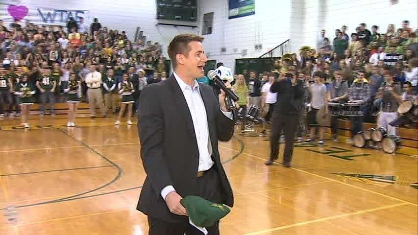 John Meyer helps pump up the Penn-Trafford student body