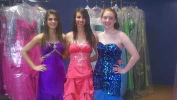 Penn-Trafford High School students model prom dresses.