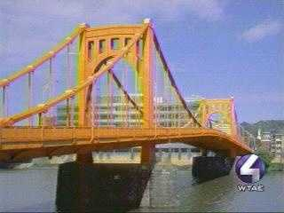 "The then-Ninth Street Bridge (now Rachel Carson bridge) looks tasty in ""candied yam."""