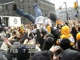 Troy Polamalu body-surfed at the Pittsburgh Steelers' Super Bowl XL victory parade.