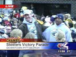 Coach Bill Cowher shared a car with safety Mike Logan and celebrated with Steelers fans at the Super Bowl XL victory parade in Downtown Pittsburgh.