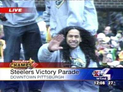 Troy Polamalu at the Pittsburgh Steelers' Super Bowl XL victory parade.