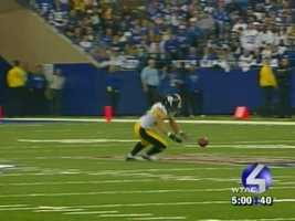 Troy Polamalu nearly intercepted this pass in the 2005 playoffs at Indianapolis.