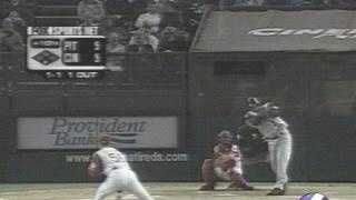 April 2001: Kevin Young hits a home run for the Pirates.