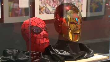 Spider-Man's mask and Iron Man's helmet