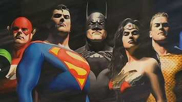 The Justice League: The Flash, Superman, Batman, Wonder Woman and Aquaman