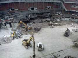 Interior demolition work at Civic Arena