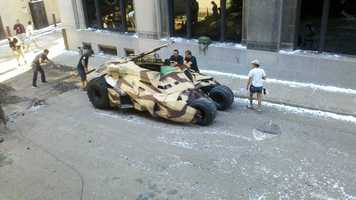 "The new Batman movie ""The Dark Knight Rises"" was shot in downtown Pittsburgh. Here's a camouflage Tumbler being readied for a scene on Cherry Way."