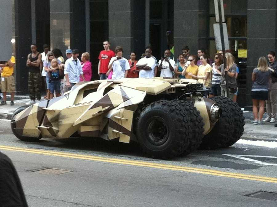 "WTAE.com viewer Jerome Harris took a picture of one of the camouflaged Tumblers used in ""The Dark Knight Rises"" on the streets of downtown Pittsburgh"