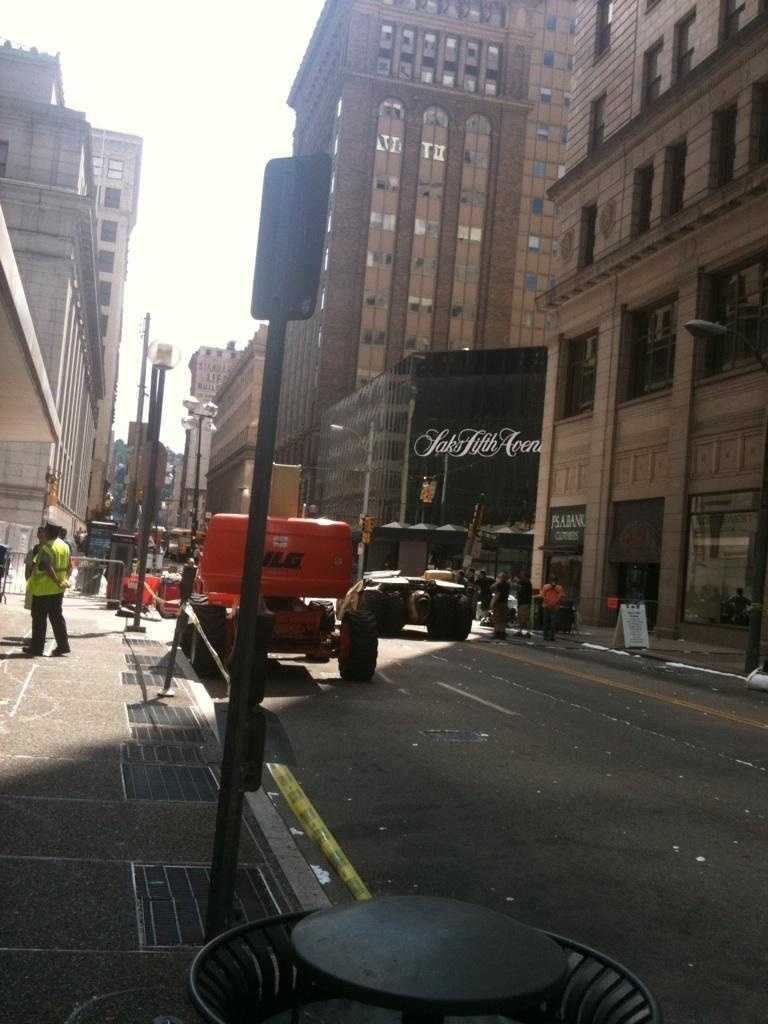"A Tumbler Batmobile drives down Smithfield Street on ""The Dark Knight Rises"" movie set."