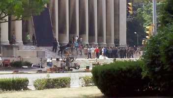 """The Dark Knight Rises"" fight scene, filmed on the steps of the Software Engineering Institute at Carnegie Mellon University in Oakland."