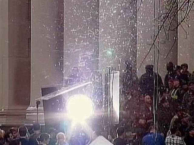 """Snow"" falls in Pittsburgh during a movie shoot for ""The Dark Knight Rises."""