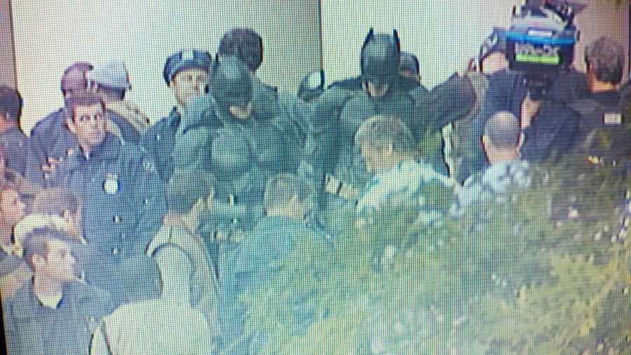 "WTAE captured this shot of Christian Bale and his movie double on the set of ""The Dark Knight Rises"" in Oakland."