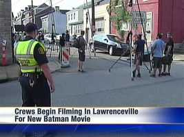 The Lawrenceville crew filmed winter scenes, which meant moving flowers and creating snow in the 90-degree heat.