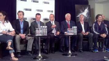 """The Dark Knight Rises"" news conference at the Renaissance Hotel. From left to right: Movie director Christopher Nolan, Pittsburgh Mayor Luke Ravenstahl, Allegheny County Chief Executive Dan Onorato, Pennsylvania Gov. Tom Corbett, executive producer Kevin De La Noy, actor Christian Bale."