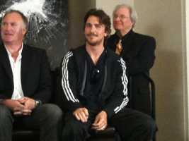 "Christian Bale at a news conference for ""The Dark Knight Rises"" at the Renaissance Hotel in Pittsburgh."