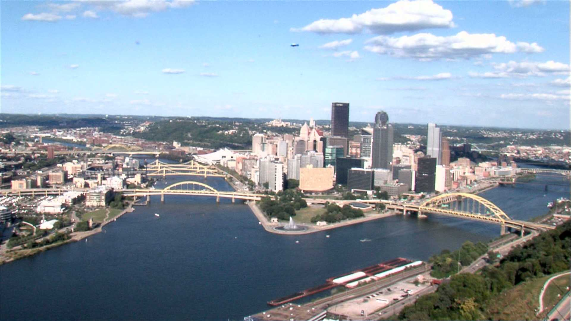 "The ""Point"" in Downtown Pittsburgh is where the Allegheny and Monongahela rivers meet to form the Ohio River."