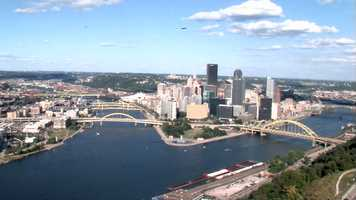"""The """"Point"""" in Downtown Pittsburgh is where the Allegheny and Monongahela rivers meet to form the Ohio River."""