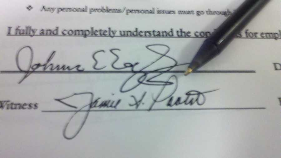 Source signature with pen pointing to key location