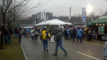 Fans in Spectator  Plaza ahead of the alumni game at Heinz Field.