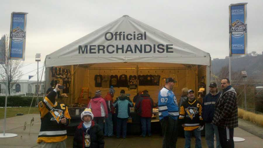 Fans looking to outfit themselves for the Winter Classic can check out the official merchandise booth  outside Heinz Field.
