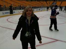 Sally Wiggin skates on the Winter Classic rink.