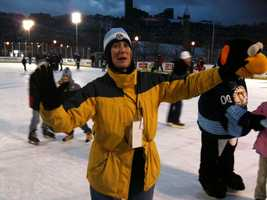 Val Porter from the WDVE Morning Show at the Winter Classic public skate.