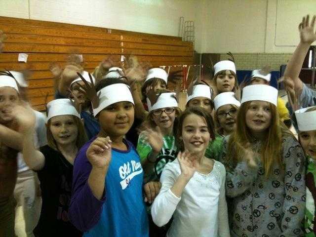 Washington Elementary school kids with deer antler hats (From: Sally Wiggin)