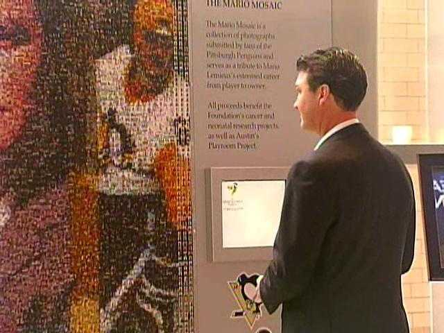 Penguins owner Mario Lemieux takes in the Mario Mosaic at Consol Energy Center
