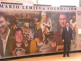 Penguins owner Mario Lemieux at the unveiling of the Mario Mosaic