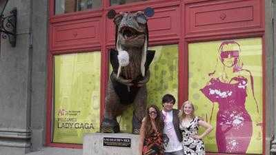 "The dinosaur statue outside the Art Institute of Pittsburgh was temporarily dressed as ""Lady Gagasaurus"" in 2010."