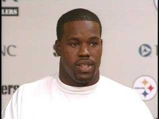 "Sept. 3, 2003: Joey Porter calls a news conference in Pittsburgh to thank friends and fans for their support. He said there ""was really no warning. I just heard shots fired and I took off running.""Read Story"