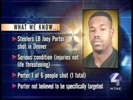 Aug. 31, 2003: Joey Porter is wounded in a Denver bar shooting that leaves one person dead. The injury causes Porter to miss the Steelers' season opener.