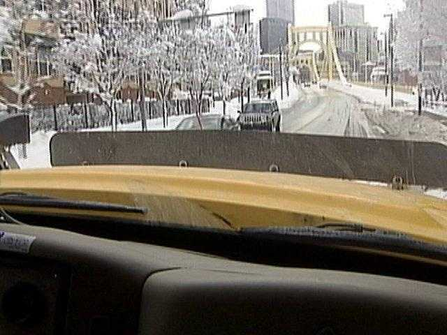Behind the wheel of a PennDOT truck.