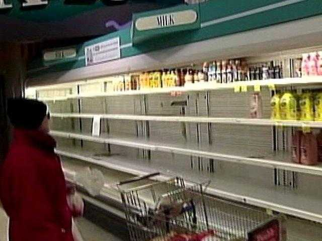 Empty shelves greet shoppers at local grocery stores after news another snow storm is on the way.